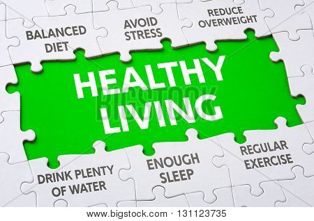 Text On Puzzle Pieces - Healthy Living