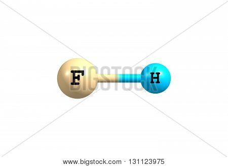 Hydrogen fluoride is a chemical compound with the formula HF. This colorless gas is the principal industrial source of fluorine often in the aqueous form as hydrofluoric acid. 3d illustration