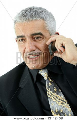 Glücklich reifer Geschäftsmann talking on Mobile Phone, Lächeln, isolated on white Background.?