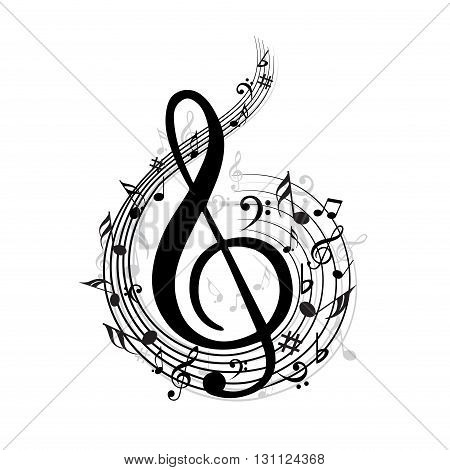 Creative music note with different music symbols