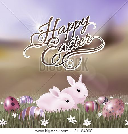 Happy Easter Greeting Card with Two Rabbits