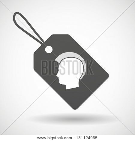 Isolated Shopping Label Icon With  A Male Punk Head Silhouette