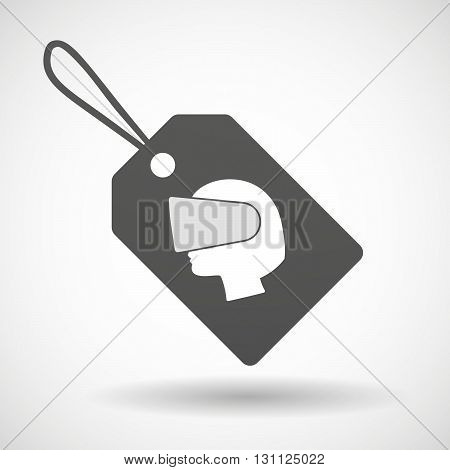 Isolated Shopping Label Icon With  A Female Head Wearing A Virtual Reality Headset