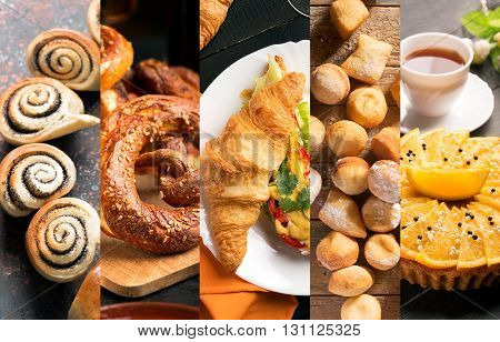 Bread and sweets from different cuisine (collage)