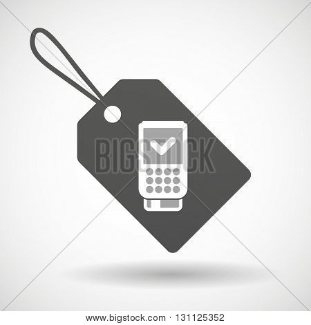 Isolated Shopping Label Icon With  A Dataphone Icon
