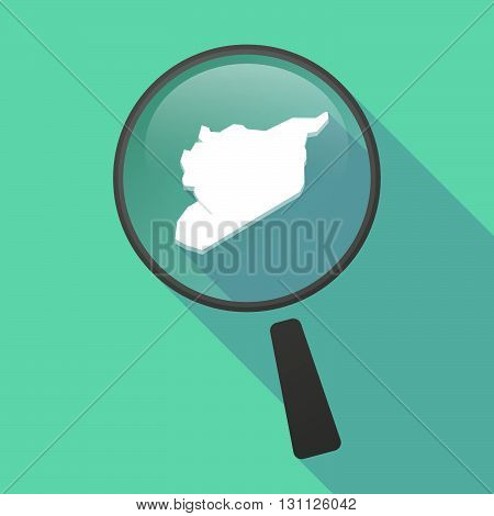 Long Shadow Magnifier Vector Icon With  The Map Of Syria
