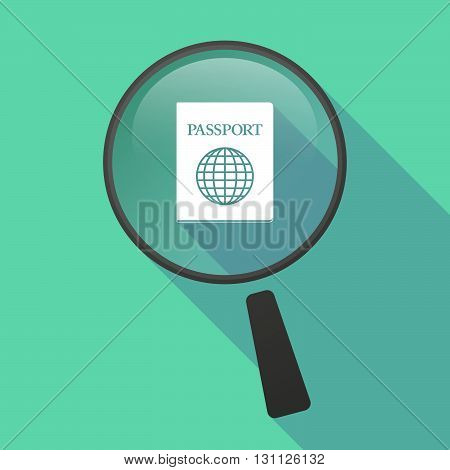 Long Shadow Magnifier Vector Icon With  A Passport