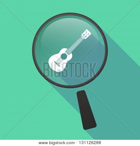 Long Shadow Magnifier Vector Icon With  An Ukulele