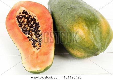 Papaya on the wooden table