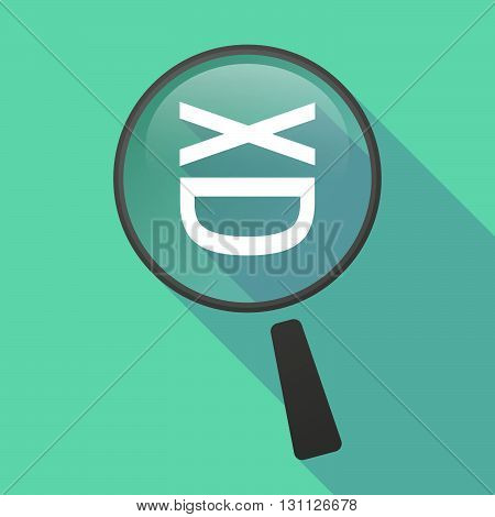 Long Shadow Magnifier Vector Icon With   A Laughing Text Face