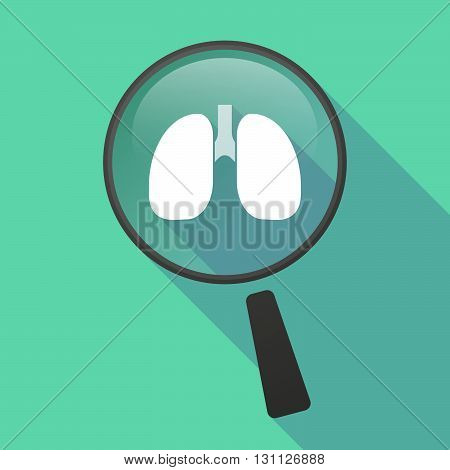 Long Shadow Magnifier Vector Icon With  A Healthy Human Lung Icon