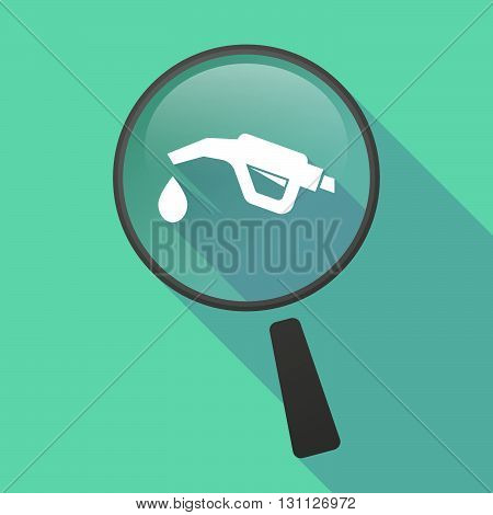Long Shadow Magnifier Vector Icon With  A Gas Hose Icon
