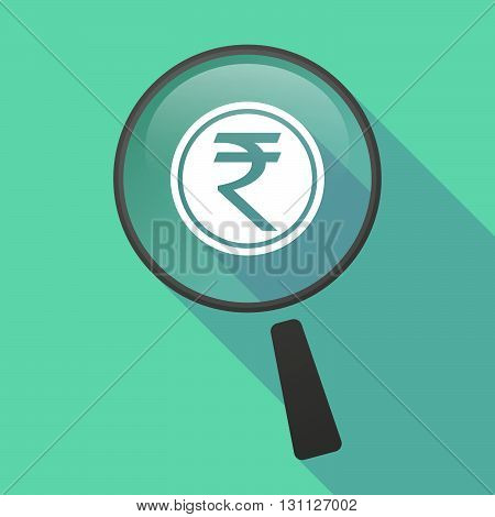 Long Shadow Magnifier Vector Icon With  A Rupee Coin Icon