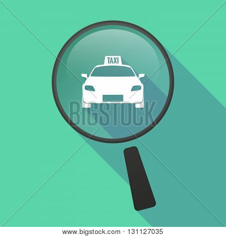 Long Shadow Magnifier Vector Icon With  A Taxi Icon