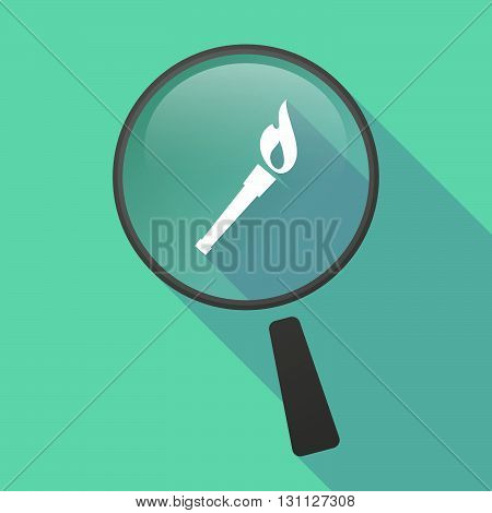 Long Shadow Magnifier Vector Icon With  A Torch Icon