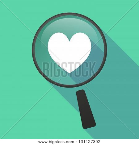 Long Shadow Magnifier Vector Icon With  The Heart Poker Playing Card Sign