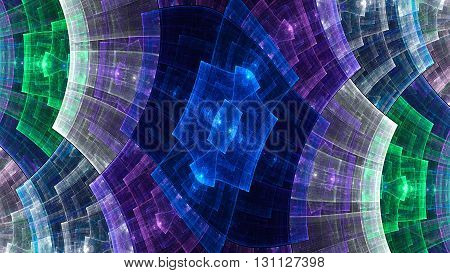 Metal grid. Protective field. Boarding spaceship. Mysterious psychedelic relaxation wallpaper. Sacred geometry. Fractal abstract pattern. Digital artwork creative graphic design.