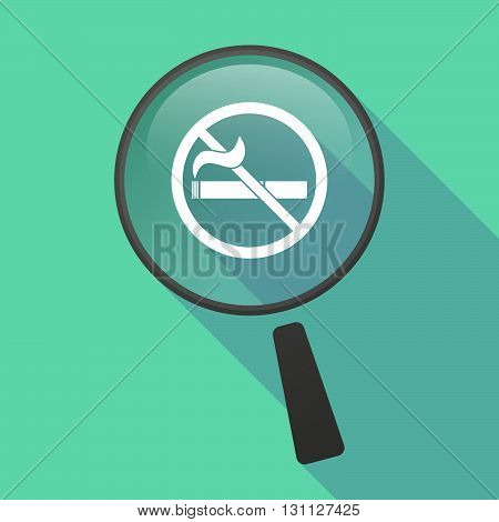 Long Shadow Magnifier Vector Icon With    A No Smoking Sign