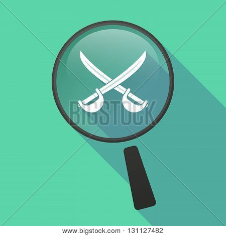 Long Shadow Magnifier Vector Icon With  Two Swords Crossed