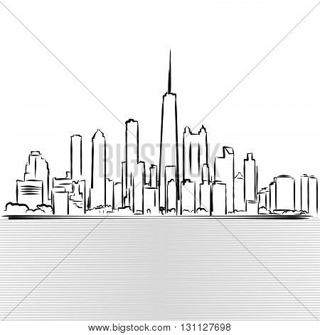 Chicago Skylinie Sketch. View From Michigan Lake