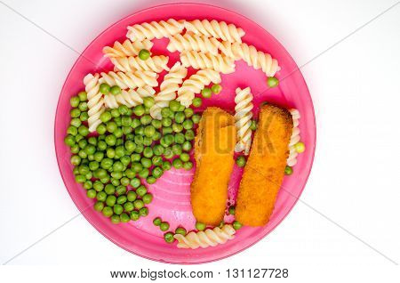 Dinner with fish fingers pasta and peas on a childs pink plate