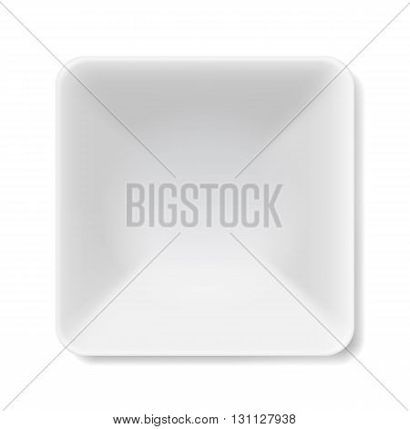 Illustration of empty square white soup-plate isolated on white background