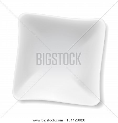Illustration of empty white soup-plate isolated on white
