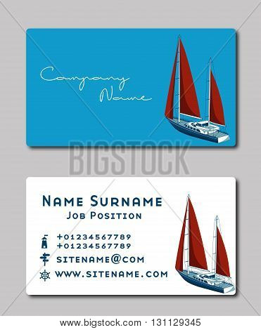 Sailing yacht. Business card template. Vector Illustration. Stationery Design