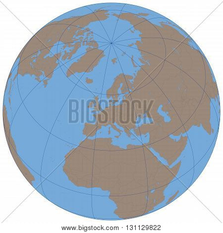 Illustration of a Political Globe with White Background