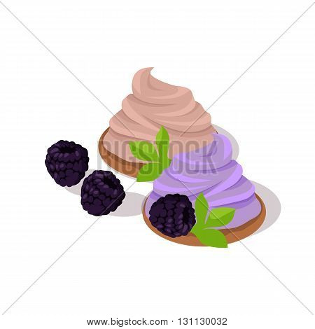 Part of cake with blueberries design. Birthday or wedding cake slice, chocolate dessert cookies, blueberries and chocolate, food sweet pie with, cream and fruit vector illustration