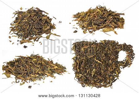 pile of dried tea leaves and dried tea leaves cup isolate on white background