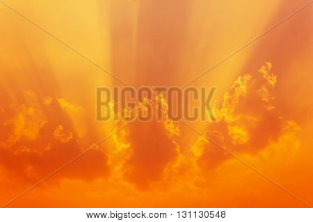 Abstract Golden And Orange Dreamy Clouds And Sky With Sunlight Shining Nature Background