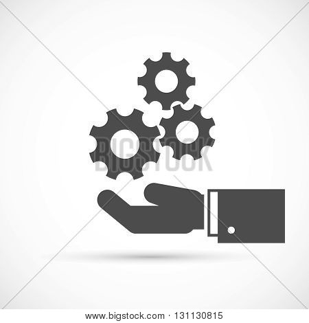 Gears on hand icon. Hand and mechanism vector illustration