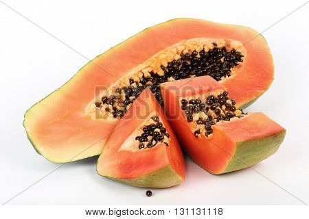 Papaya on a white background