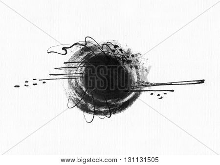 Large grainy abstract illustration with black ink circle hand drawn with brush and liquid ink on watercolor paper. Drawn with imperfections spray splashes ink drops and lines. Isolated on white
