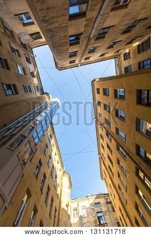 St.PETERSBURG, RUSSIA - CIRCA SEP, 2015: View on a typical yard-well in the old district of the city. St. Petersburg was founded on 16 (27) may 1703 by Peter I.