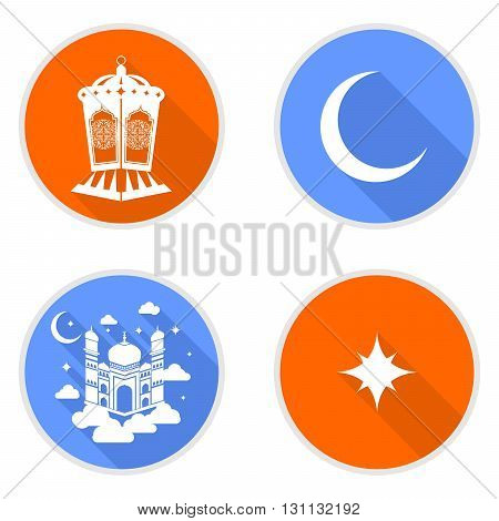 illustration in oriental style with the icons on the theme of Ramadan .