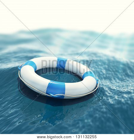 Lifebuoy floating in a stormy sea with the effect of sun rays 3d illustration