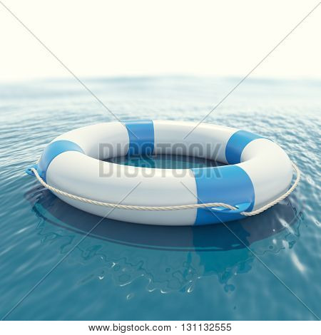Lifebuoy floating in sea with a blur effect. 3d illustration