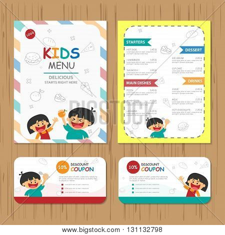 Cute colorful kids meal menu vector template with happy boy and girl, Meal menu template flat design with cartoon
