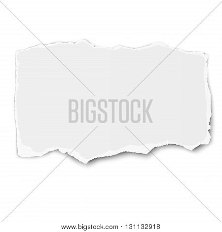 White paper tear with shadow placed on white background