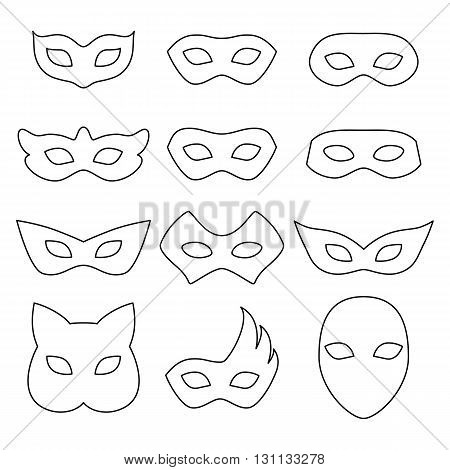 Blank carnival assorted masks icons templates set illustration. Party masquerade symbol. Black color, outline style.