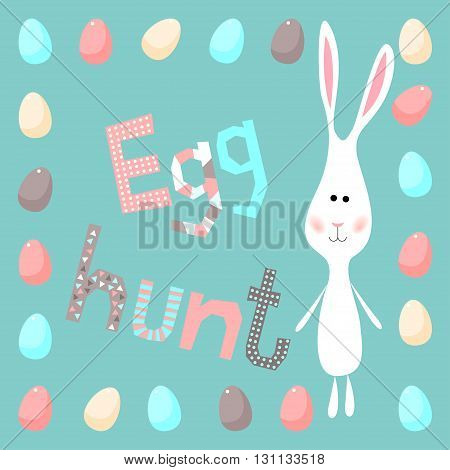 Happy easter theme. Funny cartoon white rabbits and eggs. Egg hunt card template.