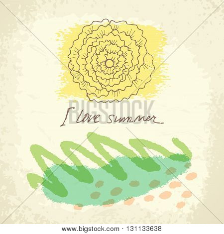 Vector hand drawn floral template card. Doodle summer background for Wedding, anniversary, birthday, Valentines day, party.