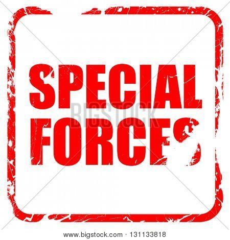 special forces, red rubber stamp with grunge edges