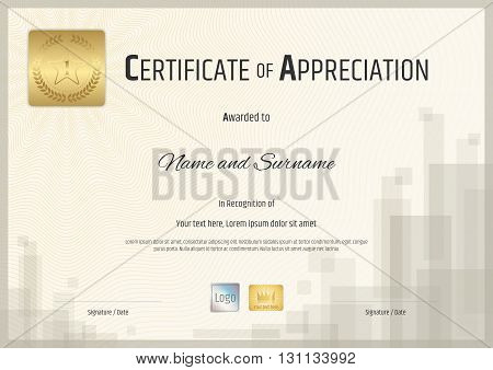 Certificate of appreciation template with gold and hologram sticker