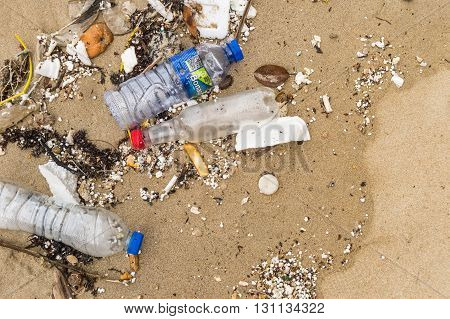 Hong Kong - April 6 2015: Pollution: garbages plastic and wastes on Hong Kong beach