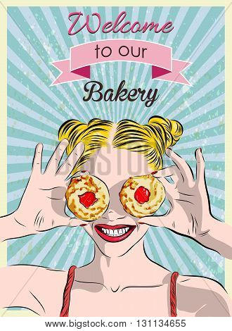A sign in a bakery and a girl with cookies. Vector illustrstion