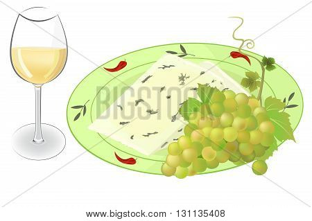 Cheese and grapes on a plate with a glass of wine vector