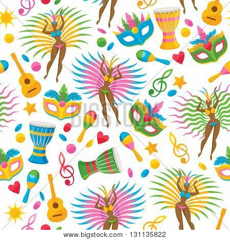 Brazilian carnival background colorful vector illustration. Brazil symbols icons seamless pattern. Guitar drum samba dancer carnival mask confetti texture. Good for cover invitation flyer greeting card design.